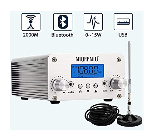 15W Fm Transmitter - Bluetooth Wireless Stereo Broadcasting Range 87-108mhz Fm Transmitter, Used in Churches, Cars, Shopping Malls, Squares, Lecture Halls, Private Radio Stations (T15B-15W)