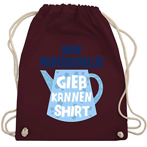 Up to Date Kind - Mein professionelles Gießkannen Shirt - blau - Unisize - Bordeauxrot - Spruch - WM110 - Turnbeutel und Stoffbeutel aus Bio-Baumwolle