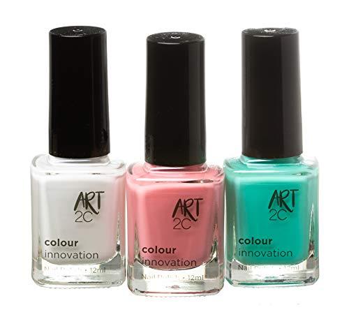 Art 2C Colour Innovation - klassischer Nagellack - 3er-Pack, 3 x 12ml - 3 helle Sommerfarben