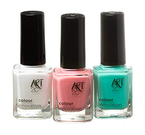 Art 2C Colour Innovation - klassischer Nagellack - 3er-Pack, 3 x 12 ml - 3 helle Sommerfarben