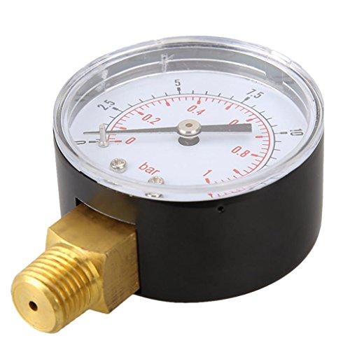Manometer, Anschluß unten Gewinde 1/4'' 0-15 PSI 0-1bar Druckmesser z.B. für Druckminderer, Wasserfilter, Druckanzeiger, Druckanzeige