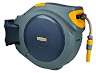 Wall-mounted hose reel with self-layering design automatically rewinds the hose without any kinks A 180-degree pivot allows you to reach every area of the garden Can easily be removed from the wall bracket allowing the unit to be stored away during w...