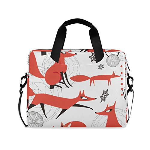 Red Foxes Snowflakes and Trees Laptop Case Bag Sleeve Portable Crossbody Messenger Briefcase Attache Casew/Strap Handle, 13 14 15.6 inch