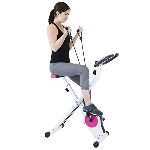 Xspec Indoor Foldable Stationary Upright Exercise Cardio Workout Cycling Bike with 16 Level...
