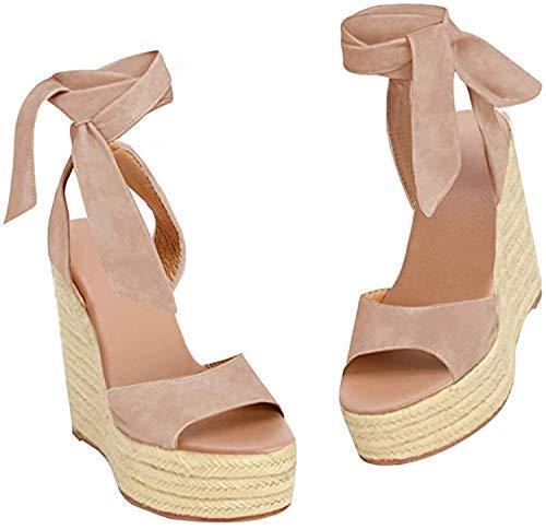 Womens Tie Up Peep Toe Espadrille Platform Wedges Sandals Classic Ankle Strap Shoes Khaki