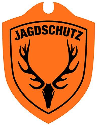 Waidmannsbruecke Jagdschutz Hubertushirsch Jagd Auto Schild, Signal Orange, 1 SZ
