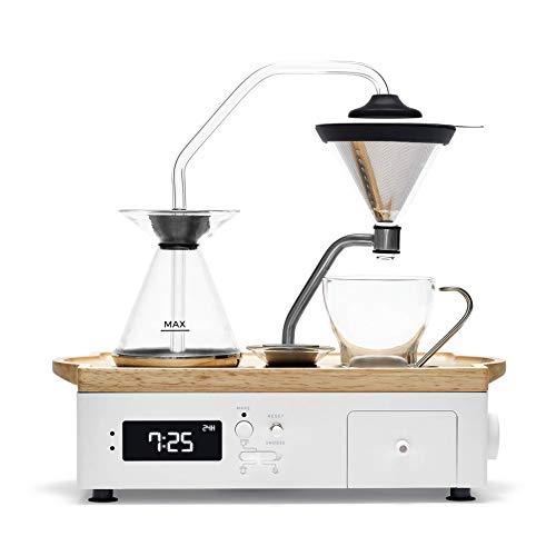 Barisieur Kaffeemaschine mit Timer Funktion | Edles Holz und Glas Design | Kaffee und Tee Zubereitung | Guten Morgen Wecker | Edelstahl Permanentfilter | gekühltes Milchfach | Fach für Löffel | Weiss