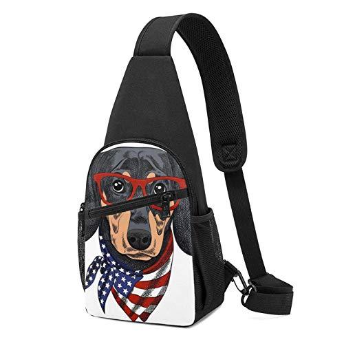 DJNGN Sling Rucksack Dackel Hund Sling Bag Umhängetasche Travel Wandern Brusttasche Daypack