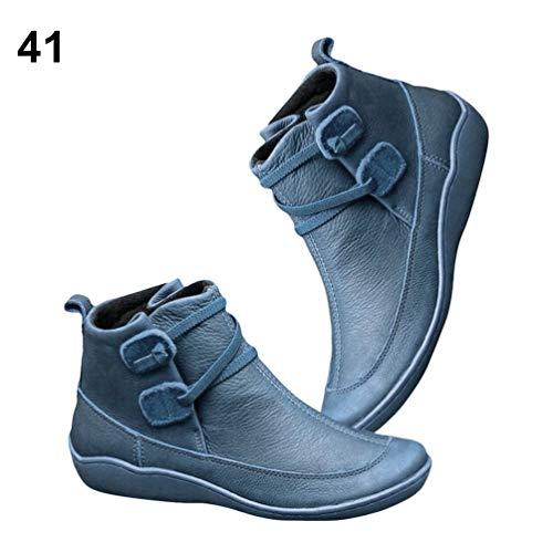 iAdvantec Boog Ondersteuning Enkelschoenen Dikke Bodem Comfortabele Flexibele Zool Waterdichte Platte Enkellaarzen voor Vrouwen - Blauw/US 6.0 / UK 5.0 / EU 37