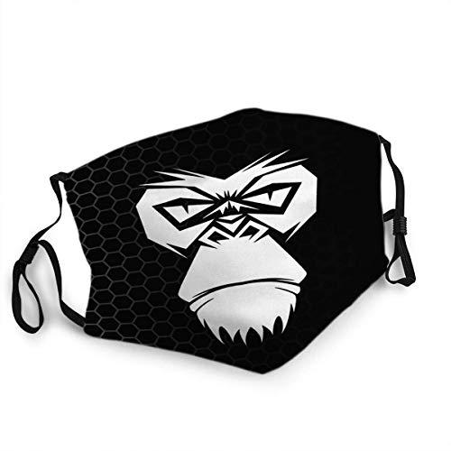 GABRI Mundschutz Cover Gorilla Head Logo für Sport Symbol Gesichtsschutz Antistaub Waschbar und Wiederverwendbar Bandana mit Filtern