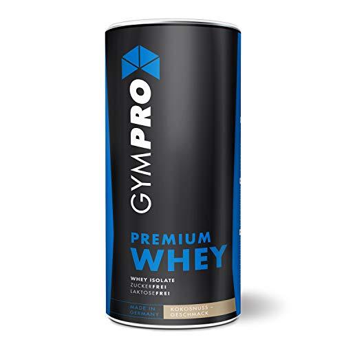 GymPro - Premium Whey Protein Pulver (Kokosnuss, 1000g), laktosefrei mit 88% reinem Eiweiss. Whey Isolat & Whey Konzentrat mit Aminosäuren (BCAA). Hergestellt in Deutschland.