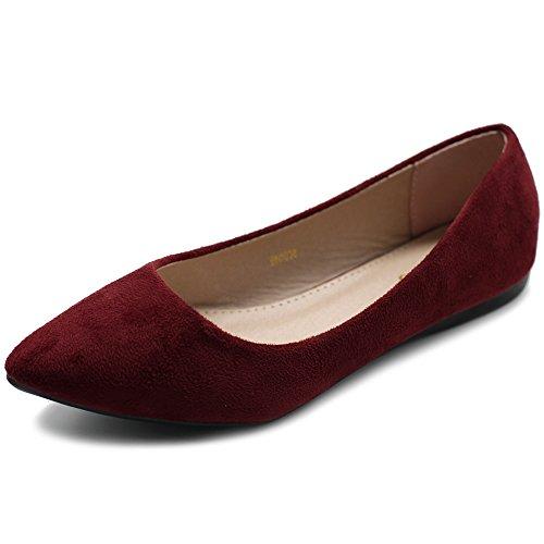 Ollio Women's Ballet Comfort Light Faux Suede Multi Color Shoe Flat ZM1038(8 B(M) US, Burgundy)