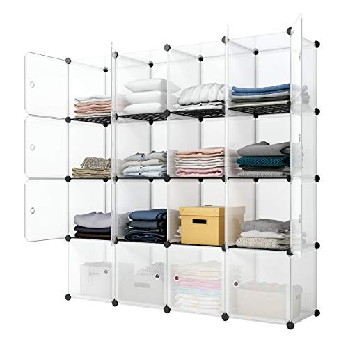 KOUSI Portable Storage Cubes-14 x14 Cube (16 Cubes)-More Stable (add Metal Panel) Cube Shelves with Doors, Modular Bookshelf Units,Clothes Storage Shelves,Room Organizer for Cubby Cube