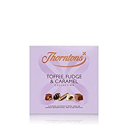 Thorntons Toffee Fudge & Caramel Collection Chocolate Box A delightful collection of toffee, fudge and caramels smothered in milk, white and dark chocolate Chocolate flavours include Tempting Toffee, Gooey Caramel, Butterscotch Fudge, Nutty Caramel, ...