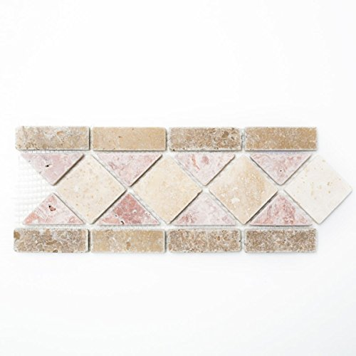 Borde Bordüre Travertin Naturstein beige rot braun Bordüre 12,5x30,5x1 Pluto für BODEN WAND BAD WC DUSCHE KÜCHE FLIESENSPIEGEL THEKENVERKLEIDUNG BADEWANNENVERKLEIDUNG Mosaikmatte Mosaikplatte