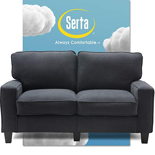 Serta Palisades Upholstered Sofas for Living Room Modern Design Couch, Straight Arms, Soft Fabric Upholstery, Tool-Free Assembly, 61' Loveseat, Charcoal