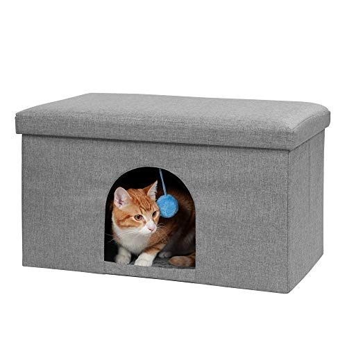Furhaven Pet Dog and Cat House - Ottoman Footstool Collapsible Living Room Pet House Condo for Cats...