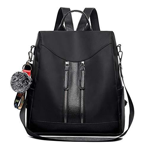 Fashion Women Backpack Casual Ladies Rucksack Shoulder Handbags School Bag Oxford Cloth Anti-theft and Waterproof Design (Black)