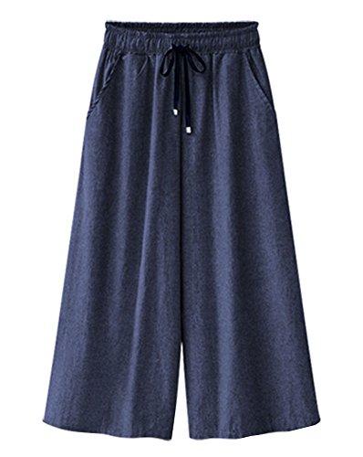 Gladiolus Damen Denim Lose Weites Bein Hose Elastische Taille Lange Culottes Jeanshosen Hosenrock Dunkelblau 7 6XL