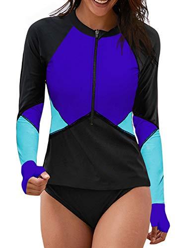 Aleumdr Womens Color Block Striped Rash Guard Swimwear Surfing Shirts Blue Small 4 6