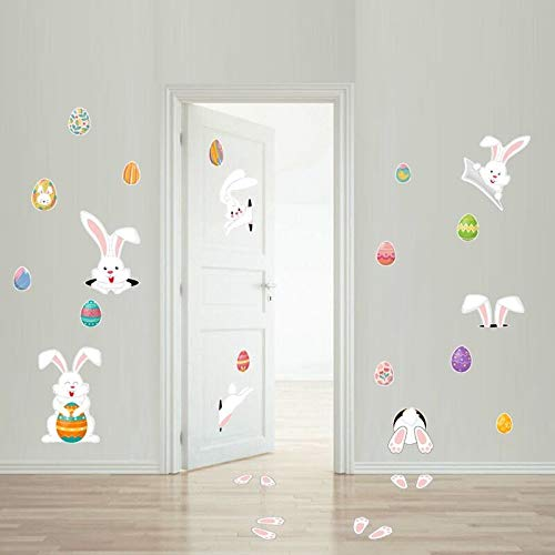 AIYANG Pasen Bunny Window Cling Decoraties Bunny Pasen Eieren Window Stickers Verschillende lijm Pasen Decals Pasen Thuis School Decoratie