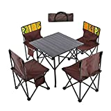 yunyun Mesa Camping,Peso Ligero Portátil Al Aire Libre Mesa Plegable Jardinmesa De Aluminio, con Cuatro Sillas, para Acampar, Fiesta En La Playa, Barbacoa(50,5 X 50,5 X 51 Cm)