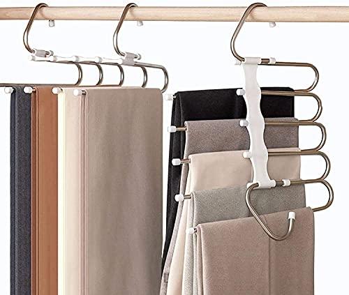 Perchas para Pantalones Perchero de Acero Inoxidable Pesado para Pantalones Bufandas Vaqueros (4Pcs-Color Blanco)