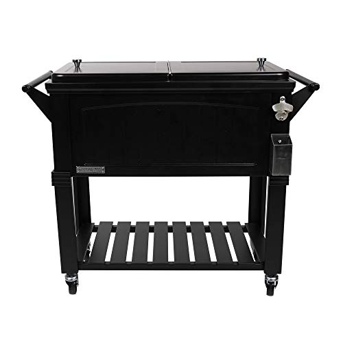 Permasteel PS-203F1-BLK-AM 80 Quart Portable Rolling Patio Cooler, Black
