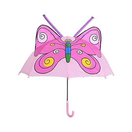 Olele Kids Umbrella for Boys and Girls, Lightweight Cute Motif 3-D Children Umbrella Up to Age 8 (Butterfly)