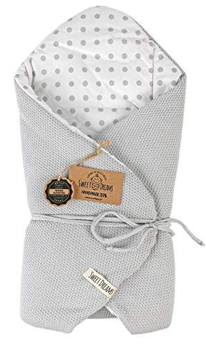 SweetDreams Baby Einschlagdecke, Schlafsack, Wickeldecke für Neugeborene und Kleinkinder, Baumwolle 0-12 Monate, super weich, 75 x 75 cm (1024) (Grau/Dots)