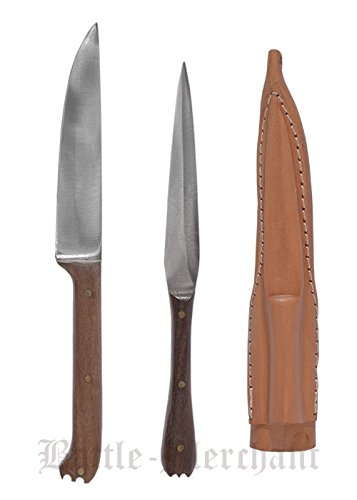 Battle-Merchant 3 teiliges Mittelalterliches Essbesteck aus Edelstahl ca. 18 cm mit Lederetui Messer Gabel Mittelalter Wikinger Verschiedene Griffarten (Holzgriff)