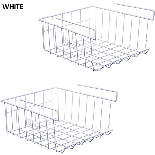 KAIWM 2 Pcs Hanging Basket Storage/Storage Shelves,Under Shelf Basket Wire Storage Basket,for Kitchen, Office, Pantry, Bathroom, Cabinet,White