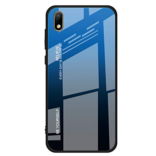 EasyLifeGo for Huawei Y5 2019 / Honor 8S Case, TPU Bumper Multicolor Gradient 9H Tempered Glass Backcover Anti-Scratch Anti-Drop Shell, Gradient Blue