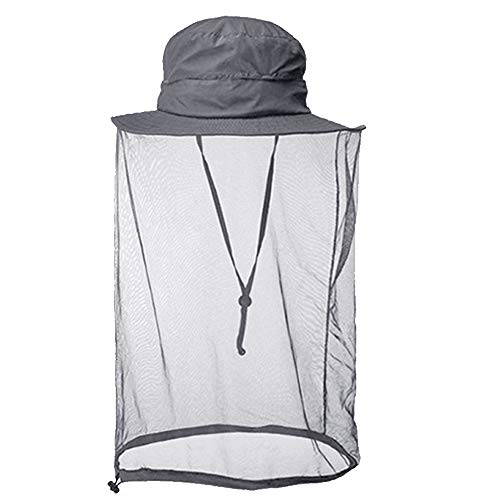 Mosquito Net Head Hat, Sun Hats with Mosquito Netting Face Neck Mask Bucket Hat Cap Protector for Outdoor Fishing Beekeeping Gardening Men Women - Gray