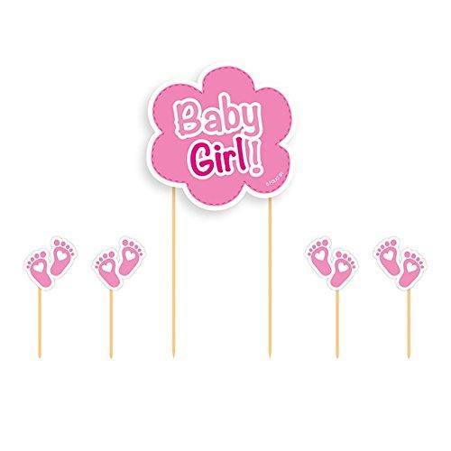 5-delige Cake Topper Set * BABY GIRL * voor verjaardag en Pinkelpartij