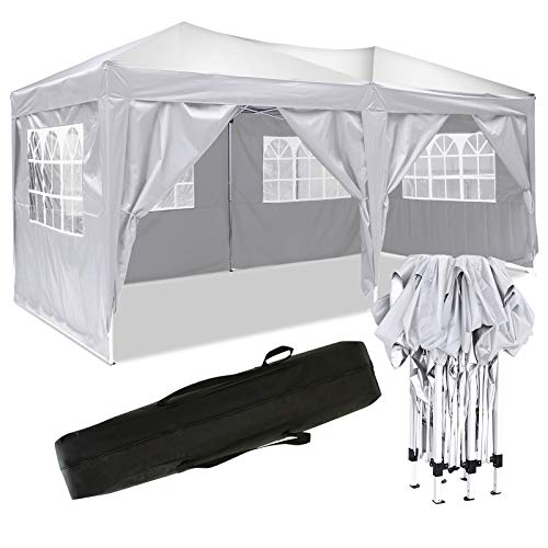 Bunao 3x6m Pop Up Garden Canopy Waterproof Gazebo Camping Tent Shelter Outdoors (3x6M, White_New)