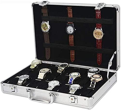 Caja de almacenamiento de reloj 24 ranuras caja de almacenamiento de reloj joyería maleta aleación de aluminio material reloj caso escaparate caja de exhibición portátil