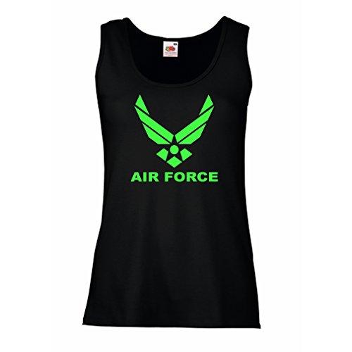 lepni.me Camisetas sin Mangas para Mujer United States Air Force (USAF) - U. S. Army, USA Armed Forces (Medium Negro Verde)