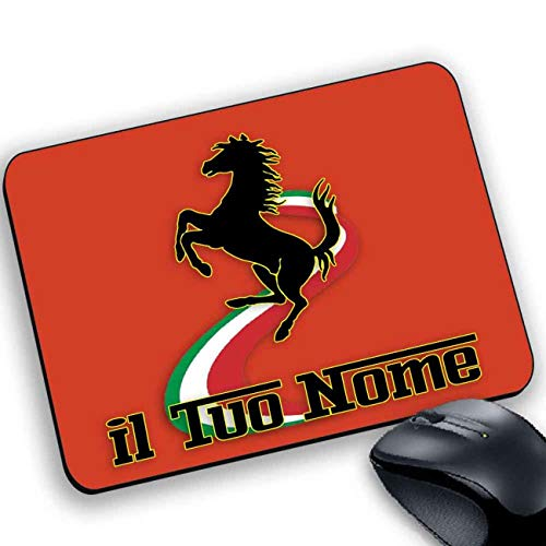 My Cust Tappetino Mouse Gadget Compatibile Stile Ferrari Style Maranello Cavallo con Il Tuo Nome