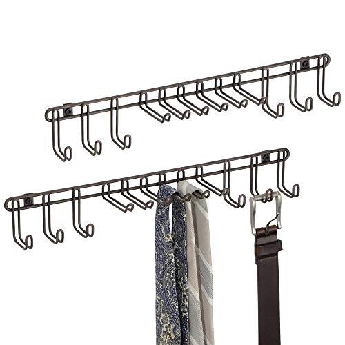 mDesign Set da 2 Appendi Cravatte da Muro – Pratico Portacravatte e Portacinture – Montaggio a Parete – Ideale per Appendere Foulard, Borse e Tanti Altri Accessori – Metallo Bronzo