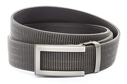 """Anson Belt & Buckle - 1.5"""" Traditional Gunmetal Buckle with Concealed Carry Ratchet Belt Strap (Tactical Grade Nylon/Microfiber Backing, Graphite)"""