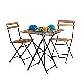 Relaxdays Conjunto de Muebles de jardín, Madera Natural, 3 Piezas, Plegable, Set Bistro, Mesa 76 x 60 x 60 cm, Colores, 60x60x76 cm