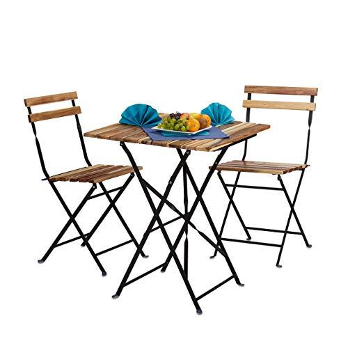 Relaxdays Gartenmöbel Set Natur, Holz, 3-teilig, klappbar, inkl Bistro Set, Tisch H x B x T: 76 x 60 x 60 cm, naturfarben