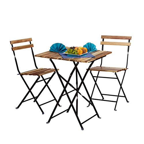 Relaxdays Garden Furniture, Wood, 3-Pieces, Foldable, Bistro Set, Table Size: 76 x 60 x 60 cm, Natural Colour, Light Brown, 60x60x76 cm