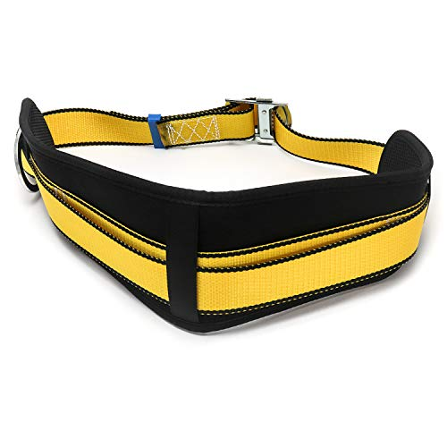 QWORK Safety Belt Fall Arrest Kit Fall Protection Safety Harness Positioning Belt Personal Protective Equipment with Hip Pad and 2 D Rings