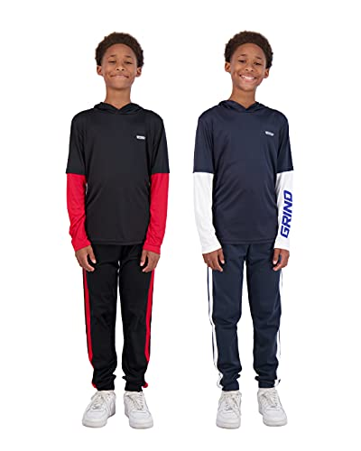 Hind Boys 4-Piece Active Long Sleeve Quick Dry T-Shirt and Athletic Jogger Sweatpant Set Kids Clothes for Sports and Running (Black-Blue, numeric_8)