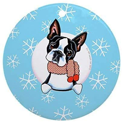 Personalized Christmas Tree Decor Boston Terrier Let It Snow 3 Inch Ceramic Ornaments Merry Gifts Customized Any Name and Date 3' Ceramic Ornament