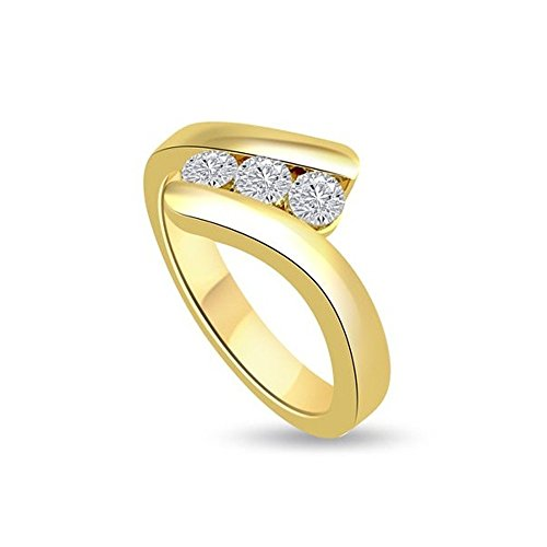 0.60ct F/VS1 Diamante Trilogy Anello da Donna con Rotonda Brillante diamanti in 18kt Oro giallo