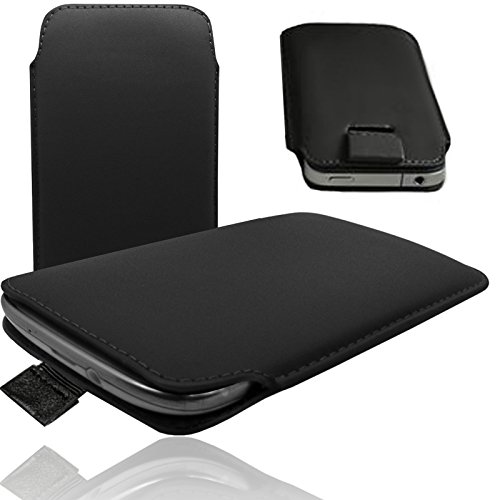 MOELECTRONIX 1A SCHWARZ Slim Cover Hülle Schutz Hülle Pull UP Etui Smartphone Tasche passend für Fantec Boogy