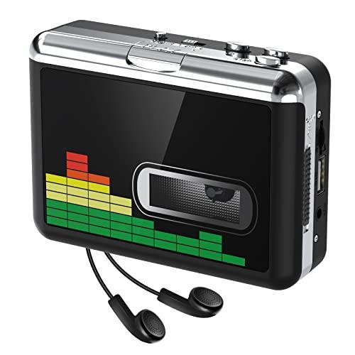 Lettore di cassette USB Convertitore da nastro a MP3, Walkman portatile Audio Music Player Convertitore da cassette a MP3 con auricolari, Nessun PC richiesto